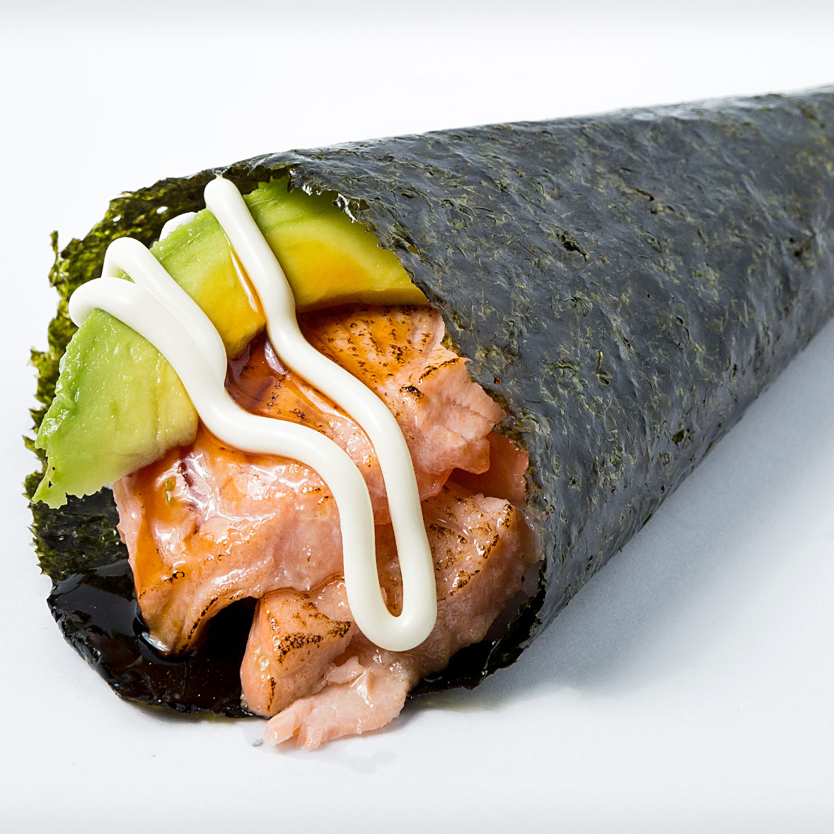 Grilled Salmon Avocado Hand Roll