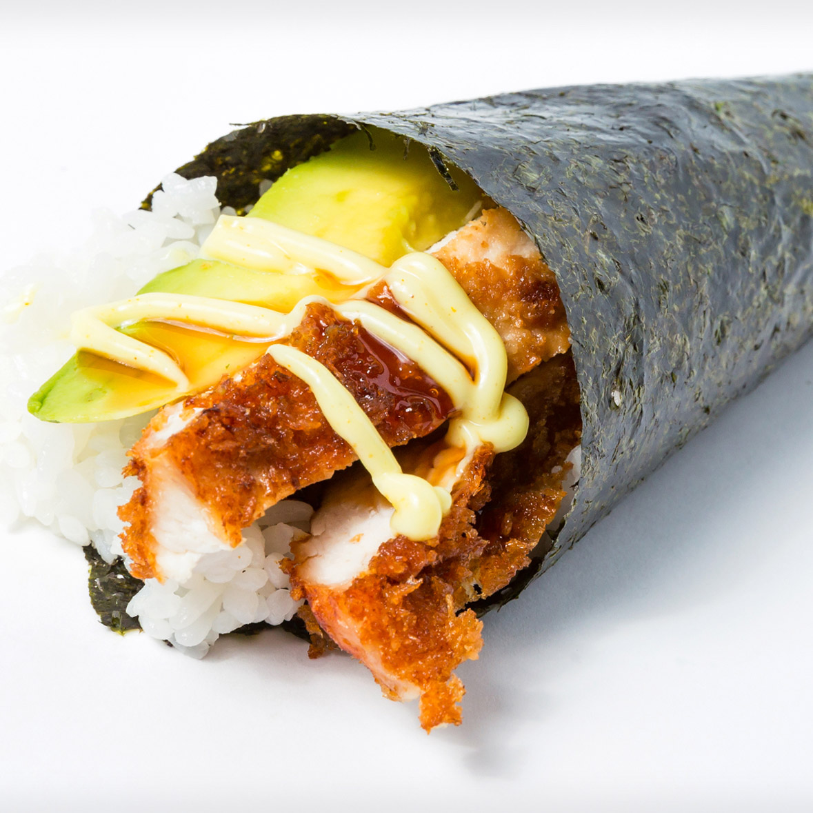 Chicken Katsu Avocado with Curry Mayo Hand Roll