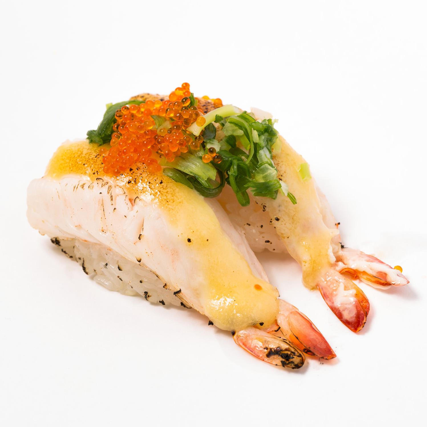Aburi ebi cheese Nigiri