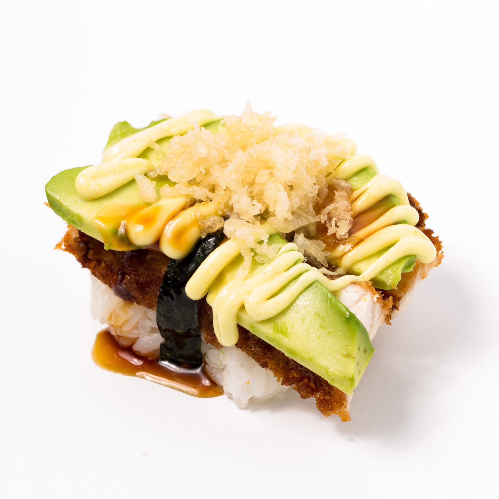 Chicken & avocado Nigiri with Curry Mayo